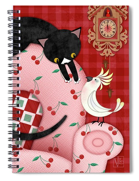 C Is For Cat, Cockatoo, And Coo Coo Clock Spiral Notebook