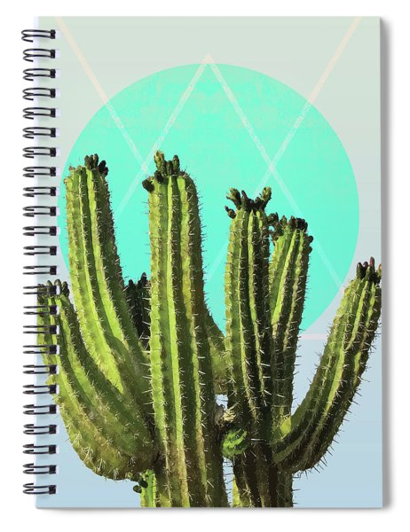 Cactus - Minimal Cactus Poster - Desert Wall Art - Tropical, Botanical - Blue, Green - Modern Spiral Notebook