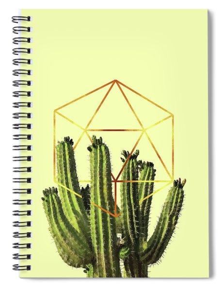 Cactus - Minimal Cactus Poster - Tropical Print-  Botanical - Beige, Gold, Green - Modern, Minimal Spiral Notebook