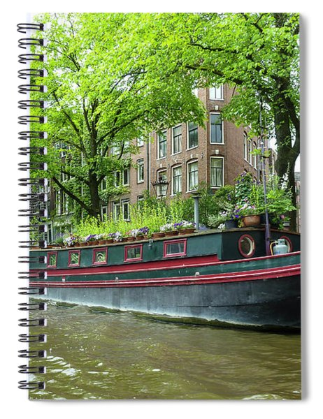 Canal Boats In Amsterdam - 2 Spiral Notebook
