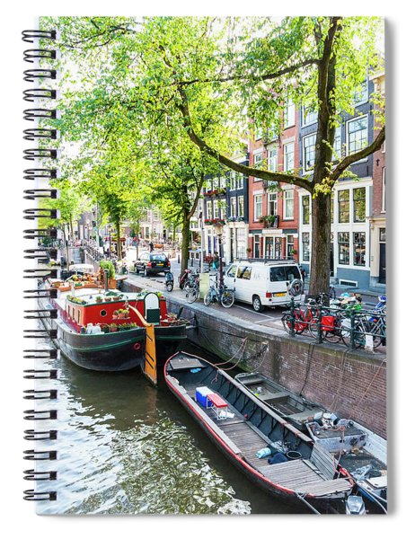 Canal Boats In Amsterdam Spiral Notebook