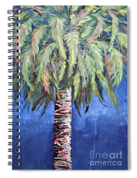 Canary Island Palm- Warm Blue I Spiral Notebook by Kristen Abrahamson