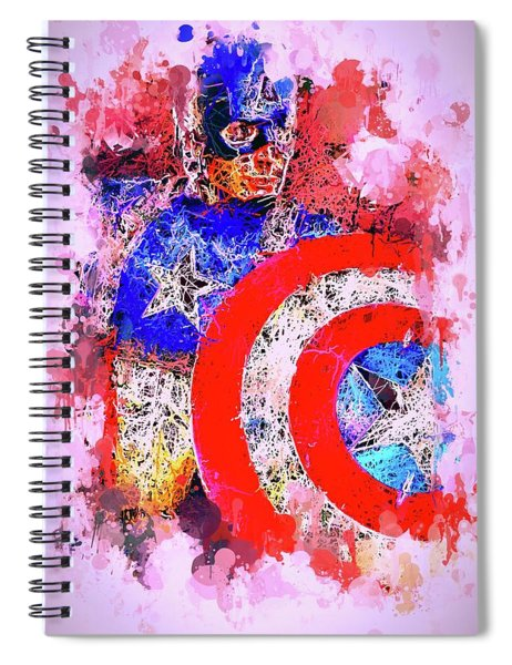 Captain America Watercolor Spiral Notebook