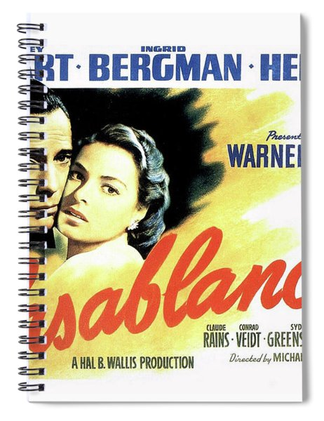 Spiral Notebook featuring the mixed media Casablanca by Movie Poster Prints
