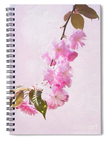 Cascading Kwanzan Cherry Blossoms Spiral Notebook