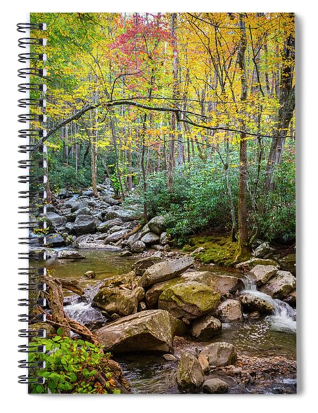 Cascading Waters In Autumn Spiral Notebook