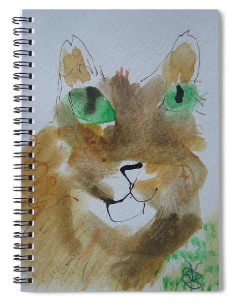 Cat Face Yellow Brown With Green Eyes Spiral Notebook by AJ Brown