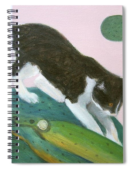 Cat On Cactus Spiral Notebook