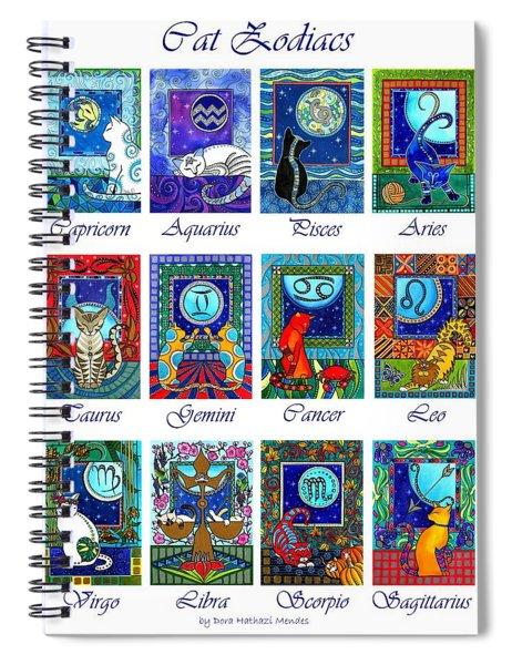 Cat Zodiac Astrological Signs Spiral Notebook