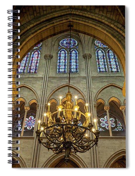 Cathedral Notre Dame Chandelier Spiral Notebook by Brian Jannsen