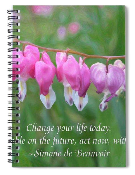 Changing Fortunes - Motivational Flower Art By Omaste Witkowski Spiral Notebook