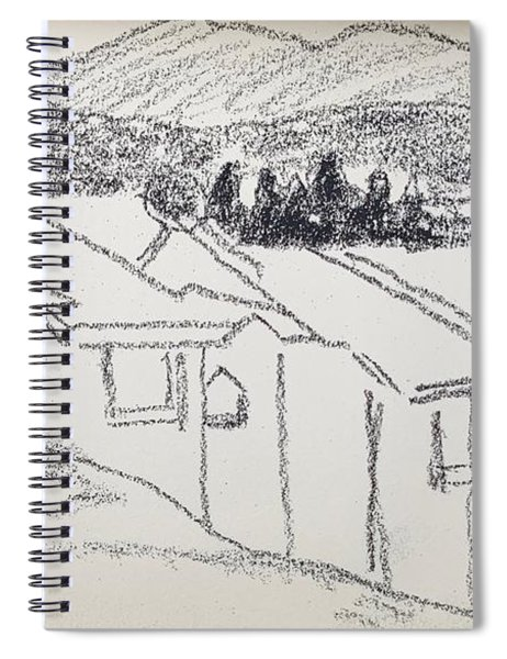 Charcoal Pencil Houses1.jpg Spiral Notebook
