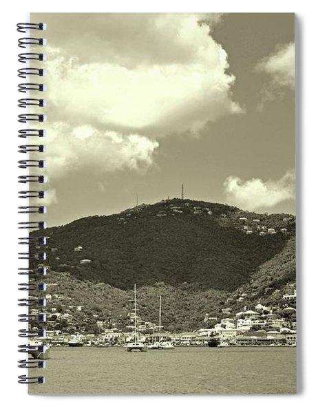 Charlotte Amalie Harbor In Sepia Spiral Notebook