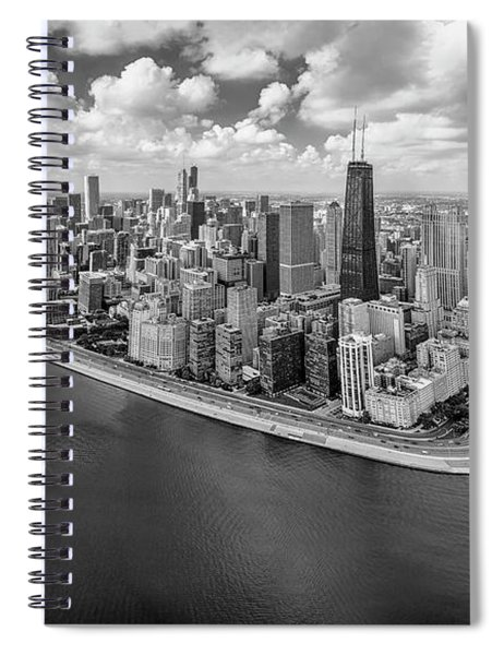Chicago Gold Coast Aerial Panoramic Bw Spiral Notebook