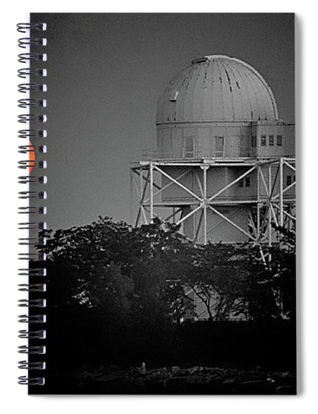 Chicago Northwestern University Observitory With Moon  Spiral Notebook