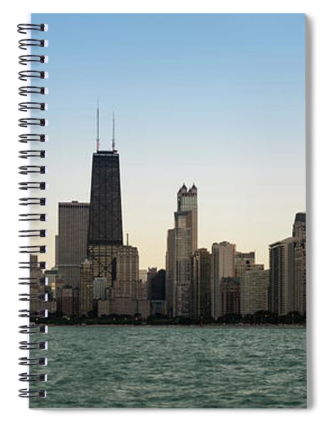 Chicago Skyline Sundown Panorama Spiral Notebook