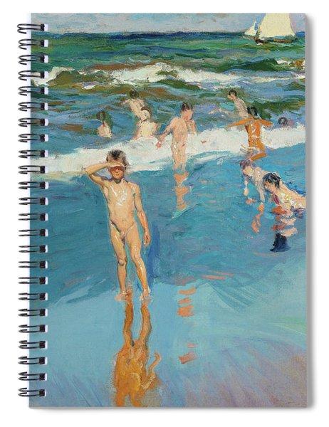 Children In The Sea, Valencia Beach, 1908 Spiral Notebook