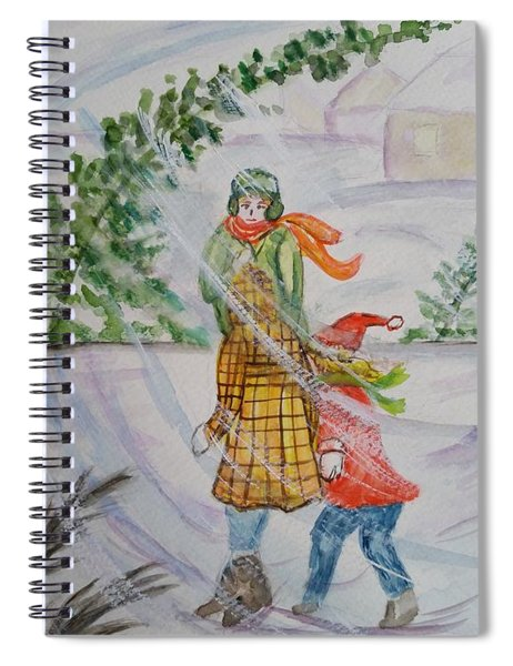 Children Walking In The Cold Blowing Snow Spiral Notebook