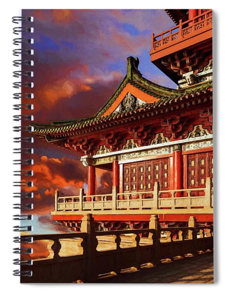 China Temple At Sunrise Spiral Notebook