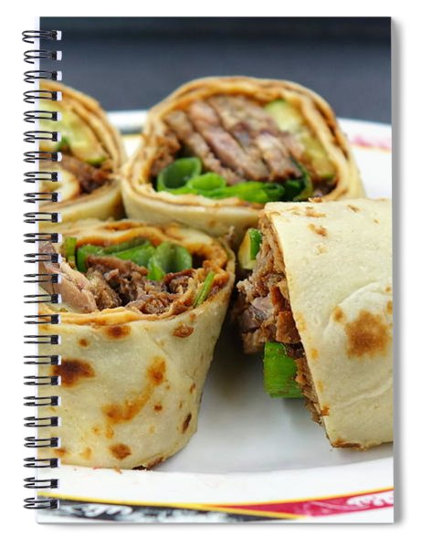 Chinese Pancake Roll With Cooked Beef Spiral Notebook