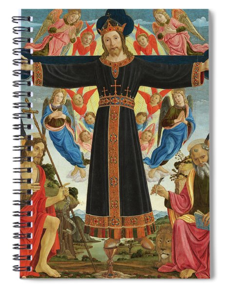 Christ On The Cross With Saints Vincent Ferrer, John The Baptist, Mark And Antoninus, 1495 Spiral Notebook