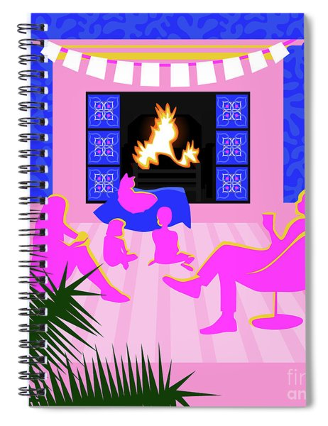 Christmas By The Fireplace Spiral Notebook