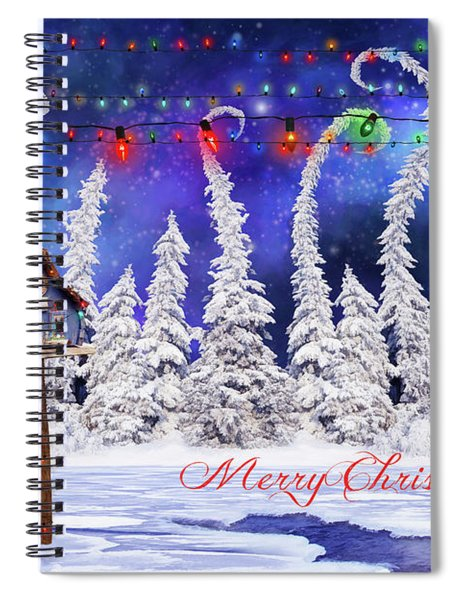 Christmas Card With Bird House Spiral Notebook