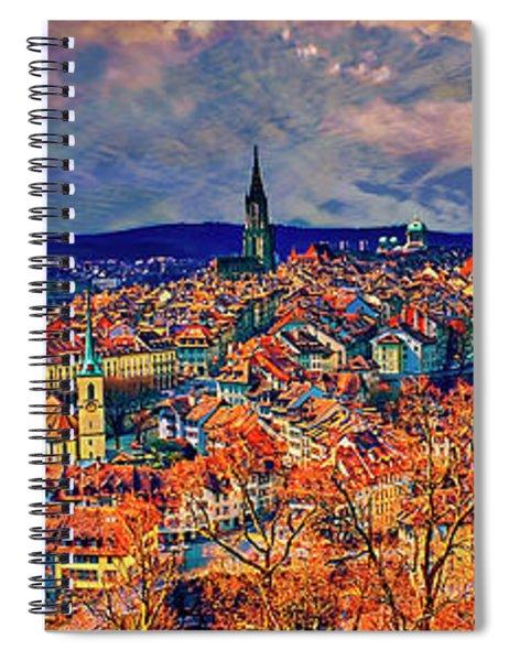City Of Bern Riverfront From Rose Garden Switzerland Spiral Notebook