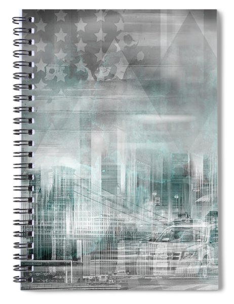 City Shapes Manhattan Collage - Turquoise Spiral Notebook by Melanie Viola