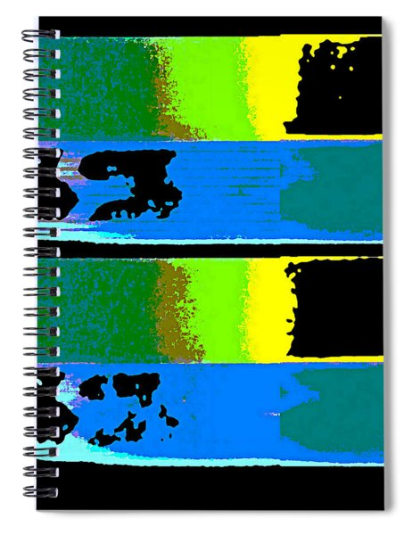 Spiral Notebook featuring the digital art Cityscaper 4000 Original Fine Art Painting Digital Abstract Triptych by G Linsenmayer