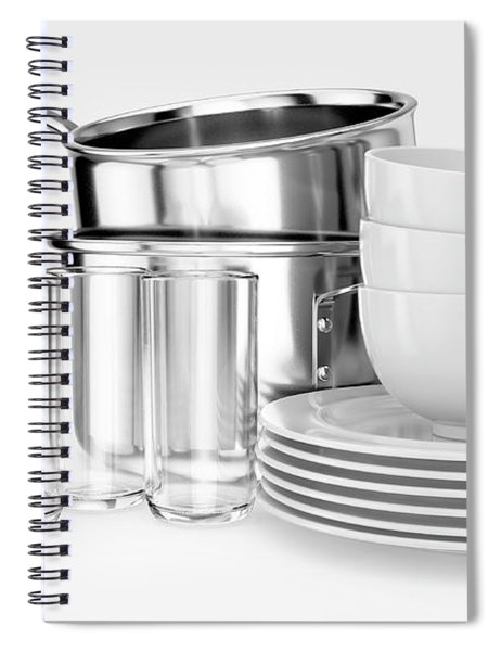 Clean Dishware Stack Spiral Notebook