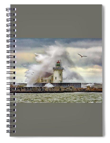 Cleveland Lighthouse Storm  Spiral Notebook