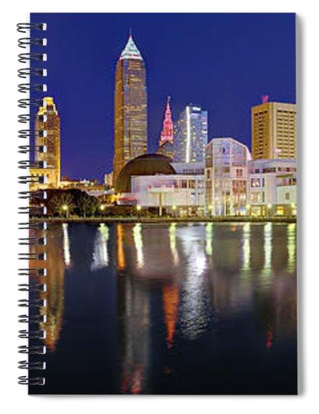 Cleveland Skyline At Dusk Rock Roll Hall Fame Spiral Notebook