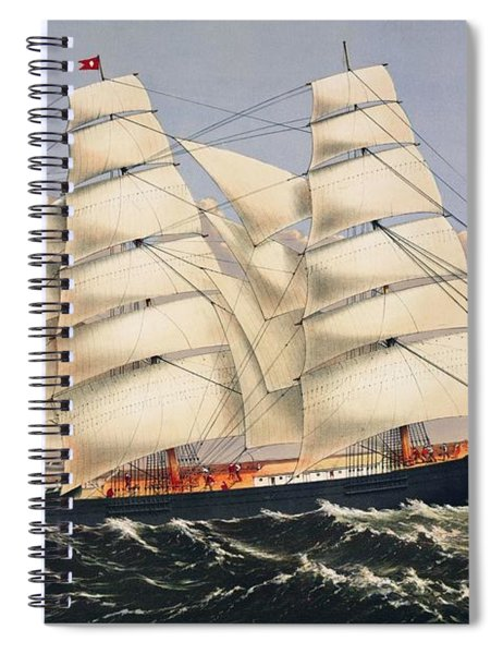 Clipper Ship Three Brothers, The Largest Sailing Ship In The World Published By Currier And Ives Spiral Notebook