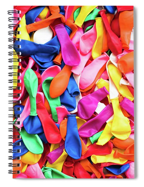 Close-up Of Many Colorful Children's Balloons, Background For Mo Spiral Notebook