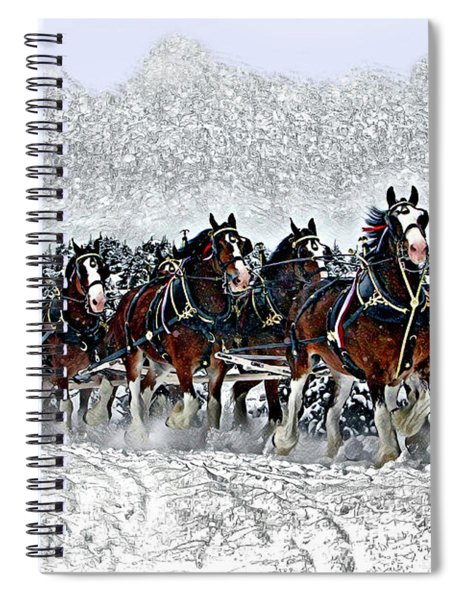Clydesdales Hitch In Snow Spiral Notebook