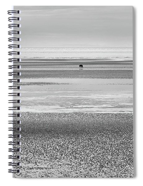 Coastal Brown Bear On  A Beach In Monochrome Spiral Notebook