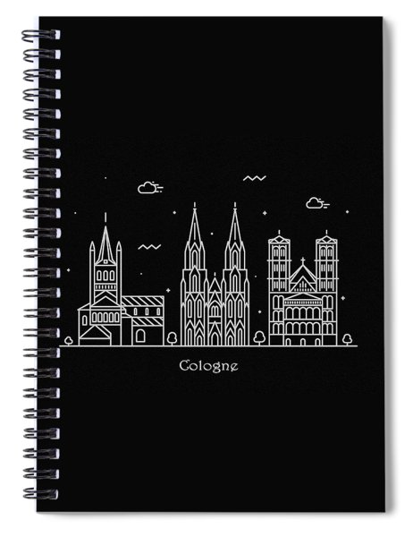 Cologne Skyline Travel Poster Spiral Notebook