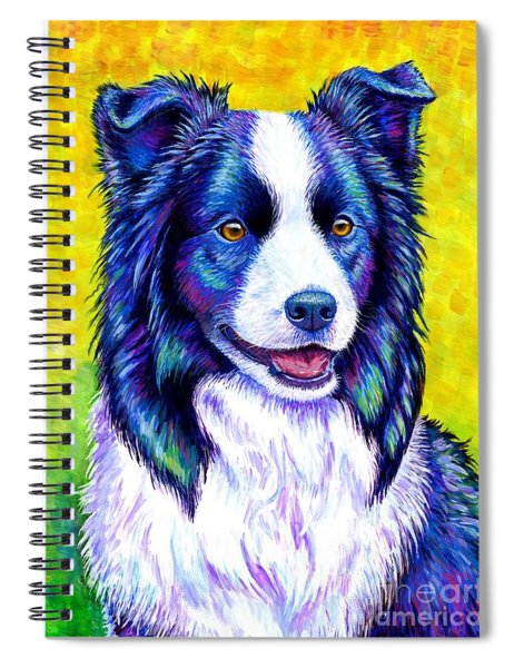 Colorful Border Collie Dog Spiral Notebook