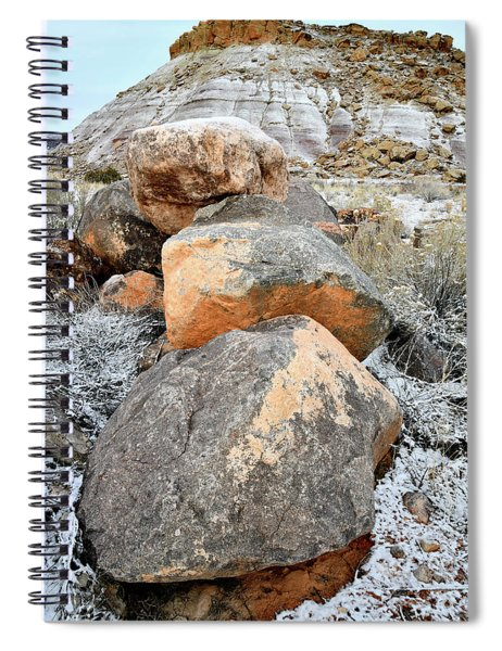 Colorful Boulders Beneath Bentonite Dunes Spiral Notebook