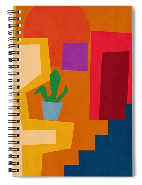 Colorful Geometric House 1- Art By Linda Woods Spiral Notebook