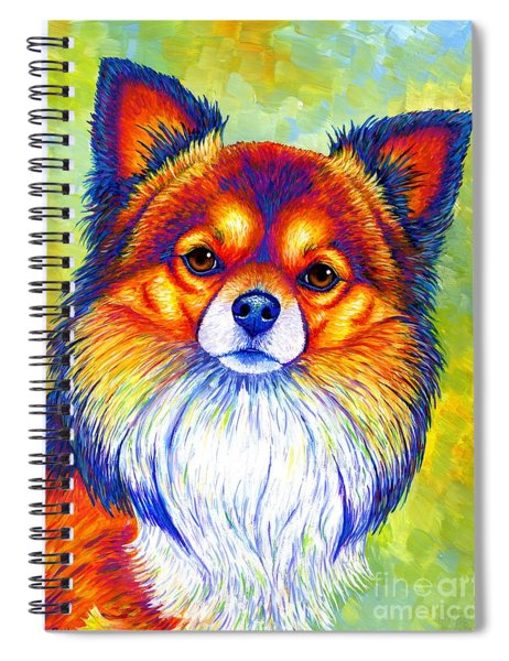 Colorful Long Haired Chihuahua Dog Spiral Notebook