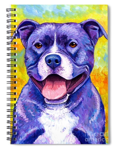 Colorful Pitbull Terrier Dog Spiral Notebook