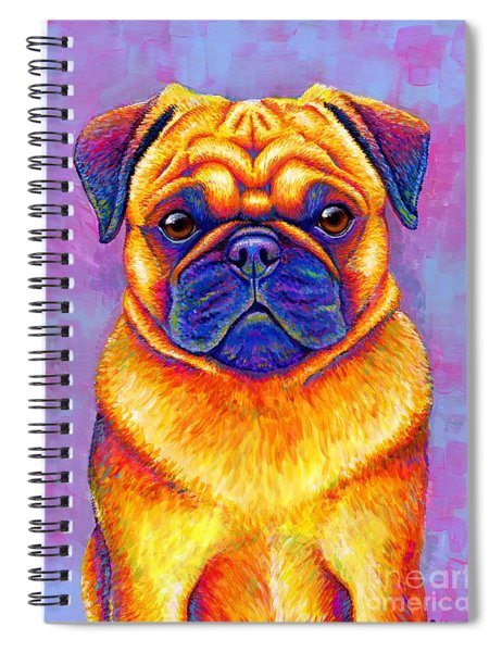 Colorful Rainbow Pug Dog Portrait Spiral Notebook