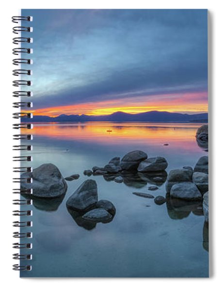 Colorful Sunset At Sand Harbor Panorama Spiral Notebook