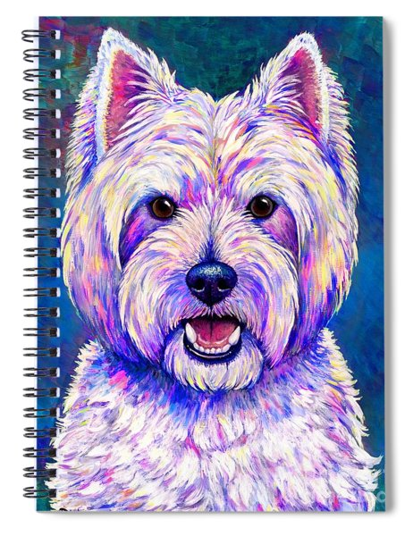 Colorful West Highland White Terrier Blue Background Spiral Notebook