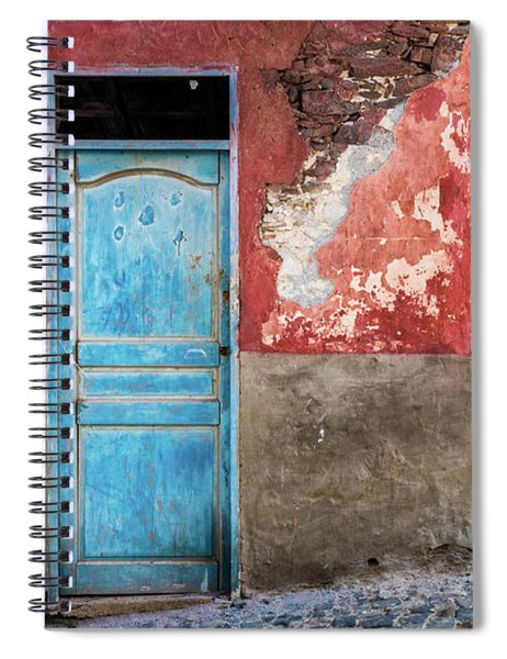 Colorful Wall With Blue Door Spiral Notebook