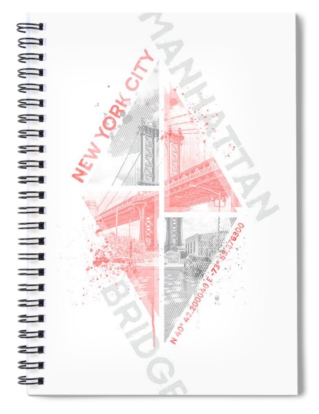 Coordinates New York City Manhattan Bridge - Living Coral Spiral Notebook by Melanie Viola