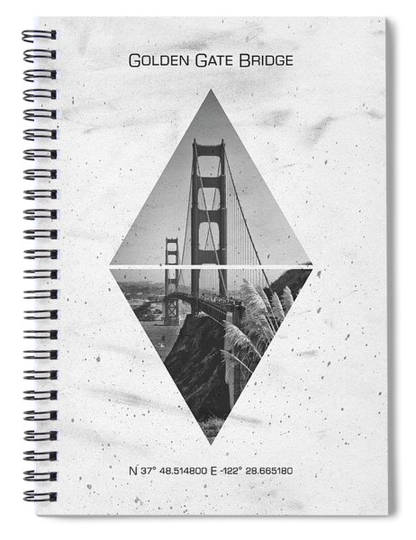 Coordinates San Francisco Golden Gate Bridge Spiral Notebook by Melanie Viola