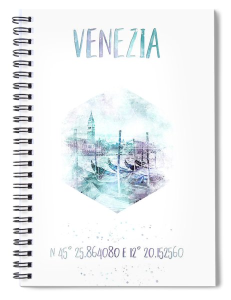 Coordinates Venice Grand Canal - Watercolor Spiral Notebook